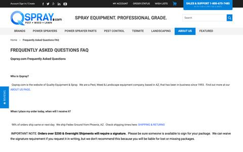 Screenshot of FAQ Page qspray.com - Frequently Asked Questions FAQ - captured Sept. 27, 2018
