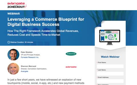 Screenshot of Landing Page avangate.com - Webinar: Leveraging a Commerce Blueprint for Digital Business Success - captured April 13, 2018