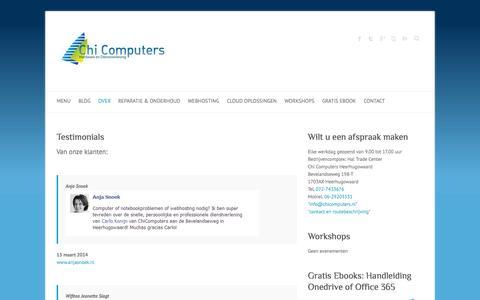Screenshot of Testimonials Page chicomputers.eu - Beoordelingen - Chi Computers Heerhugowaard - captured Oct. 27, 2014