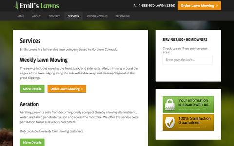 Screenshot of Services Page emilslawns.com - Lawn Care Services for Boulder, Longmont, and Fort Collins, CO · Emil's Lawns - captured Sept. 29, 2014