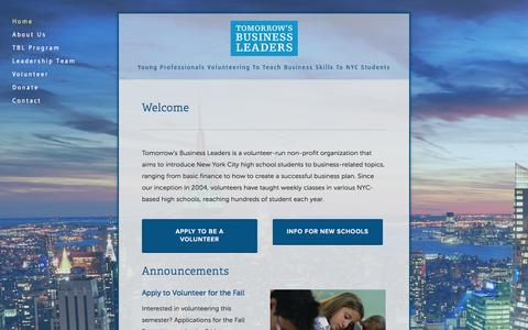 Screenshot of Home Page tomorrowsbusinessleaders.org - Tomorrow's Business Leaders - captured Sept. 30, 2014