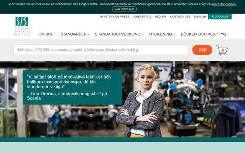 Screenshot of Home Page sis.se - SIS, Swedish Standards Institute - captured Sept. 23, 2017