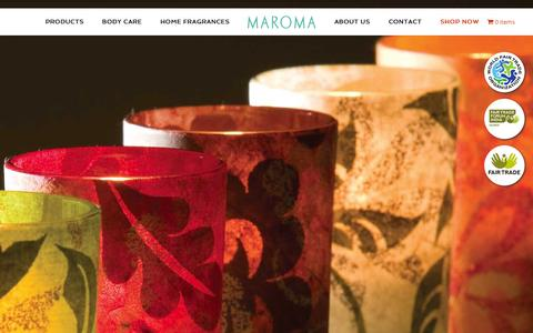 Screenshot of Home Page maroma.com - Maroma - Auroville, India - captured Sept. 23, 2015