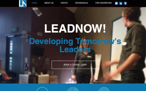 Screenshot of Home Page leadnow.net - LeadNow! | DEVELOPING TOMORROW'S LEADERS - captured Dec. 8, 2015