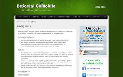 Screenshot of Privacy Page besocialgomobile.com - Privacy Policy | BeSocial GoMobile - captured Sept. 30, 2014