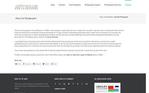Screenshot of About Page andysallis.com - About   Andy Sallis   Gloucestershire Photographer - captured Nov. 2, 2014