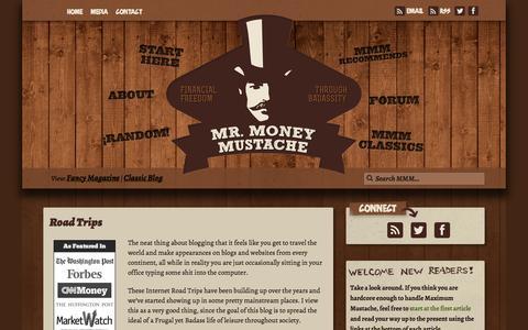 Screenshot of Press Page mrmoneymustache.com - Road Trips - captured Oct. 30, 2014