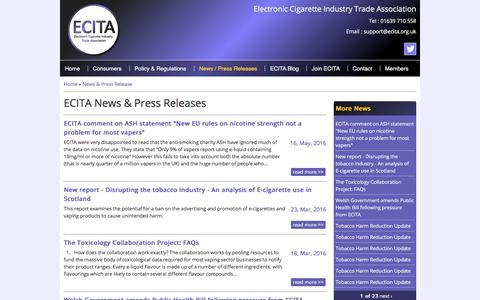 Screenshot of Press Page ecita.org.uk - News & Press Releases | ECITA - Electronic Cigarette Industry Trade Association - captured July 9, 2016