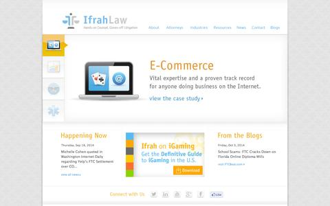 Screenshot of Home Page ifrahlaw.com - E-Commerce, iGaming, Data Privacy, Financial Services, Government Contracting, and Federal Criminal Defense Attorneys - captured Oct. 6, 2014