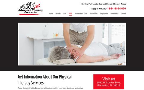 Screenshot of FAQ Page a-therapyconcepts.com - Physical Therapy FAQs | Advanced Therapy Concepts - captured Oct. 7, 2017