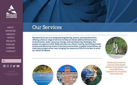 Screenshot of Services Page woodardcurran.com - Engineering, Science, & Operations Services - captured Sept. 21, 2019