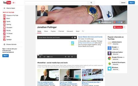 Screenshot of YouTube Page youtube.com - Jonathan Pollinger  - YouTube - captured Oct. 29, 2014