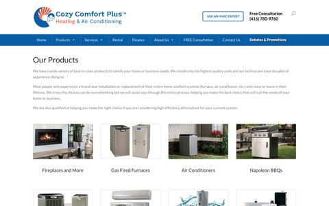 Screenshot of Products Page cozycomfortplus.com - Buy Furnace, Air Conditioners, Fireplace and Ductless Split Systems - captured July 22, 2018