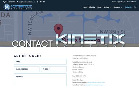 Screenshot of Contact Page kinetixsolutions.com - Contact | Kinetix Solutions - captured Oct. 17, 2017