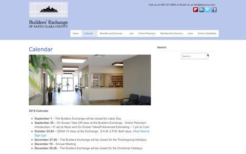 Screenshot of Press Page bxscco.com - Calendar - Builder's Exchange, of Santa Clara County - captured Oct. 5, 2014