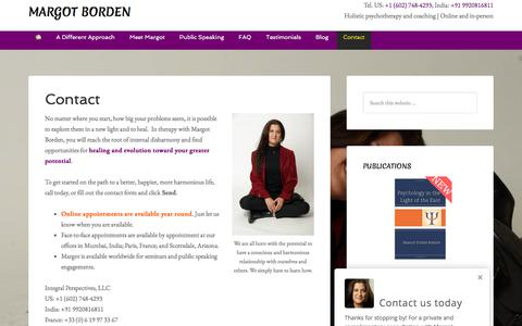 Screenshot of Contact Page margotborden.com - Contact - Margot Borden - captured Feb. 5, 2018