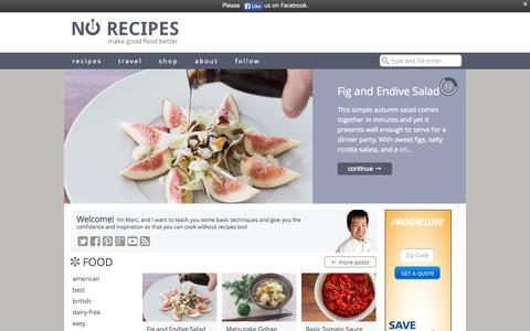Screenshot of Home Page norecipes.com - No Recipes | techniques, inspiration and cooking tips - captured Sept. 22, 2014