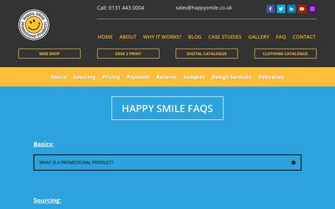 Screenshot of FAQ Page happysmile.co.uk - faqs - Happy Smile Promotional Products - captured Sept. 27, 2018