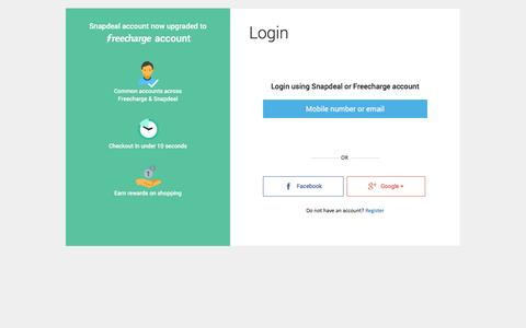 Screenshot of Login Page snapdeal.com - Login or Register at Snapdeal - Create Account to Get Daily Alert on Deals & Products in Your City - captured Dec. 2, 2015