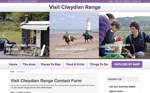 Screenshot of Contact Page visitclwydianrange.co.uk - Visit Clwydian Range - captured April 8, 2017