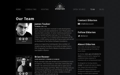 Screenshot of Team Page eldarion.com - The Team at Eldarion - captured July 19, 2014