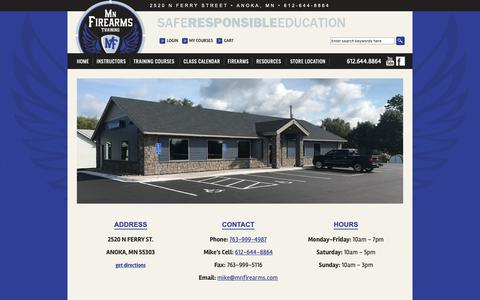 Screenshot of Contact Page mnfirearms.com - Store Location | MN Firearms Training - captured Oct. 18, 2018