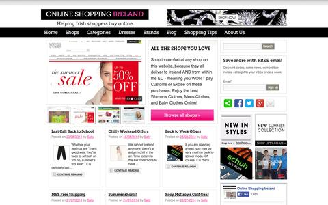 Screenshot of Home Page online-shopping-ireland.com - Buy online from UK online shopping stores that deliver to Ireland - captured Sept. 23, 2014