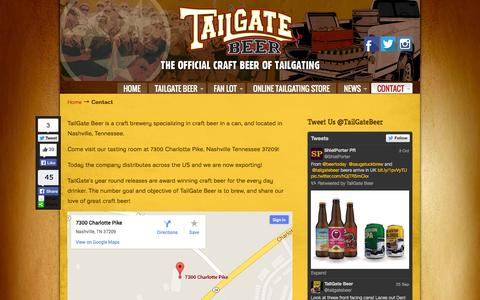 Screenshot of Contact Page tailgatebeer.com - TailGate Beer - Contact TailGate Beer – The Official Craft Beer of Tailgating – Nashville, TN - captured Oct. 9, 2014