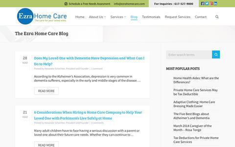 Screenshot of Blog ezrahomecare.com - Ezra Home Care's Blog - captured Sept. 30, 2018