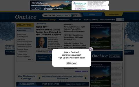 Screenshot of Home Page onclive.com - OncLive - Bringing the Oncology Community Together - captured June 5, 2017