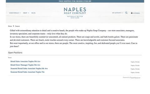 Screenshot of Jobs Page naplessoap.com - Careers - captured Nov. 15, 2017