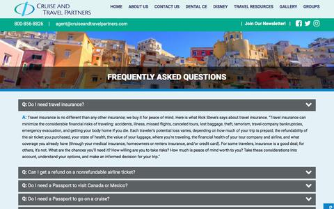 Screenshot of FAQ Page cruiseandtravelpartners.com - Frequently Asked Questions (FAQs) - Cruise and Travel Partners - captured July 22, 2018