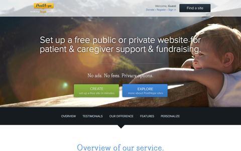 Screenshot of Home Page posthope.org - Patient websites - status updates, caregiver support & fundraising - captured Sept. 23, 2014