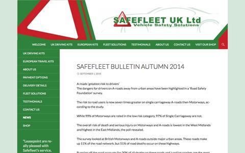 Screenshot of Press Page safefleet.co.uk - News | Safefleet - captured Oct. 1, 2014