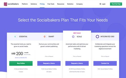 Screenshot of Pricing Page socialbakers.com - Select Your Socialbakers Suite Plan | Socialbakers - captured March 21, 2019