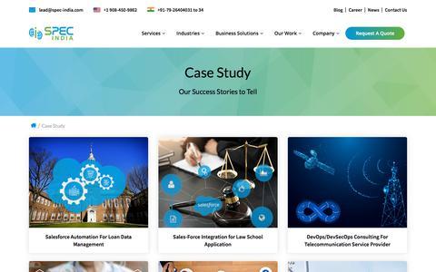 Screenshot of Case Studies Page spec-india.com - Case Study - SPEC INDIA - captured Sept. 21, 2018
