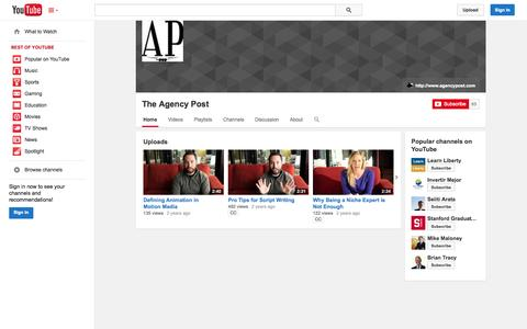 Screenshot of YouTube Page youtube.com - The Agency Post  - YouTube - captured Oct. 31, 2014