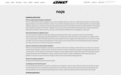 Screenshot of FAQ Page oneindustries.com - FAQS - captured Oct. 26, 2014
