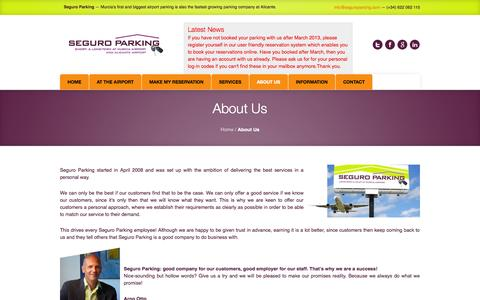 Screenshot of About Page seguroparking.com - About Us   Seguro Parking - captured Sept. 30, 2014