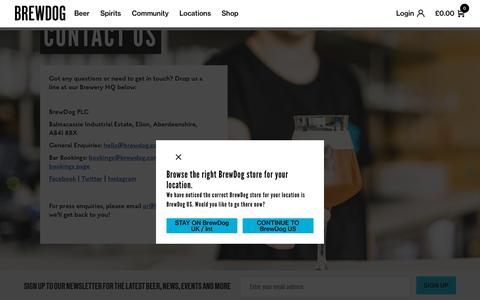 Screenshot of Contact Page brewdog.com - Get In Touch - BrewDog Contact Details - captured Feb. 10, 2020