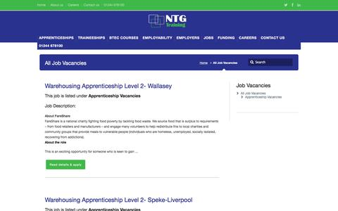 Screenshot of Jobs Page ntgtraining.co.uk - Job Vacancies Chester, Cheshire, Wirral | NTG Training - captured Feb. 15, 2016