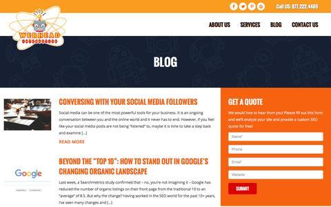 Screenshot of Blog webheadinteractive.com - SEO, Social Media & Marketing Blog | Webhead Interactive - captured Dec. 21, 2016