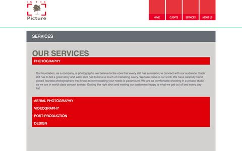 Screenshot of Services Page inthepicture.us - SERVICES - captured Oct. 6, 2014