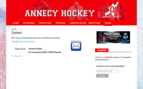 Screenshot of Contact Page annecy-hockey.com - Contact   Annecy Hockey - Les chevaliers du lac - captured Dec. 1, 2016