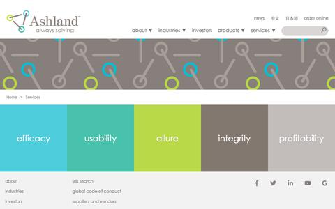 Screenshot of Services Page ashland.com - Ashland | Services - captured June 20, 2018
