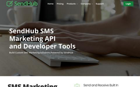 Screenshot of Developers Page sendhub.com - SMS API | SendHub - captured Jan. 13, 2019