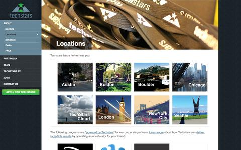 Screenshot of Locations Page techstars.com - Locations - Techstars - captured Sept. 13, 2014