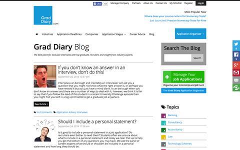 Screenshot of Blog graddiary.com - Grad Diary Blog | Expert Graduate Career Advice and Interviews - Graduate Job News and Grad Diary Updates - captured Sept. 30, 2014