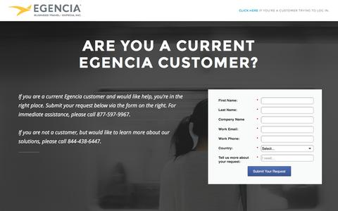 Screenshot of Landing Page egencia.com - Egencia Corporate Travel - Customer Service - captured June 17, 2016