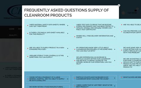 Screenshot of FAQ Page criticalenvironmentsolutions.co.uk - Cleanroom Products Frequently Asked Questions - captured Sept. 15, 2017